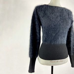 Black angora fluffy sweater. Fitted long sleeve